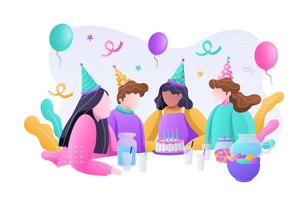 Grupo de niño feliz celebrando la fiesta de cumpleaños con pastel y globos ilustración