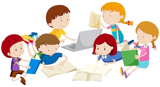 Grupo de niños aprendiendo