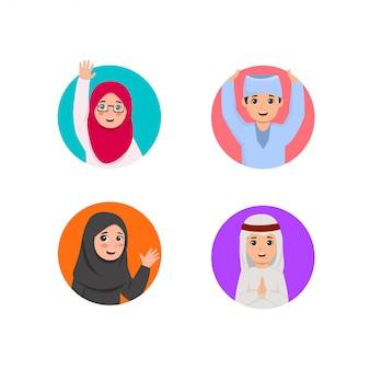Grupo de niños árabes de la ilustración en agujero redondo