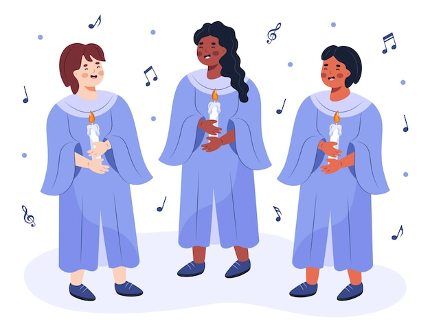 Grupo de niños cantando en un coro ilustrado.