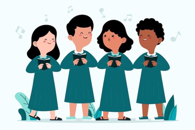 Grupo de niños cantando en un coro.