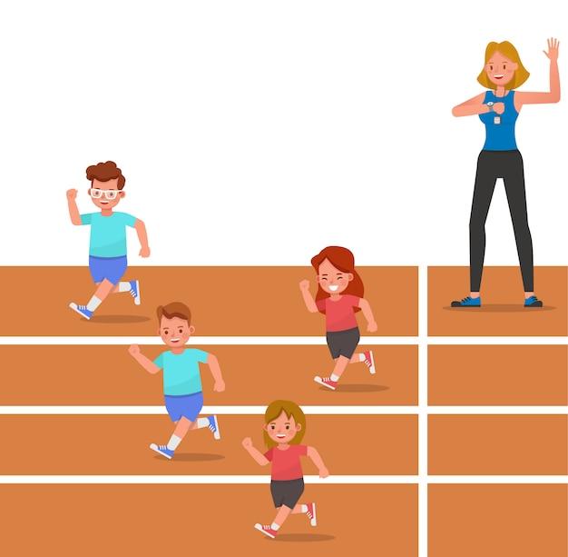 Grupo de niños corriendo en la pista del personaje del estadio