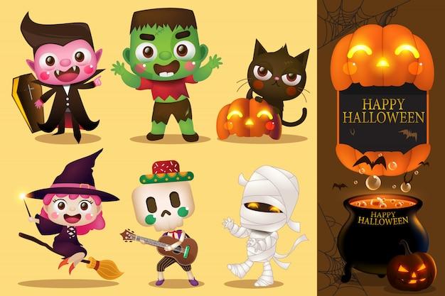 Grupo de niños en disfraces de halloween