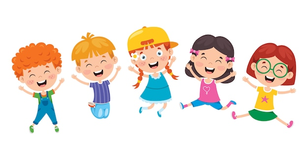 Grupo de niños graciosos saltando