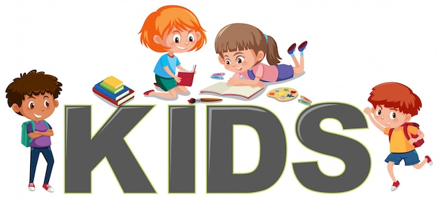 Grupo de niños leyendo