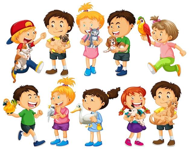 Grupo de niños pequeños en blanco