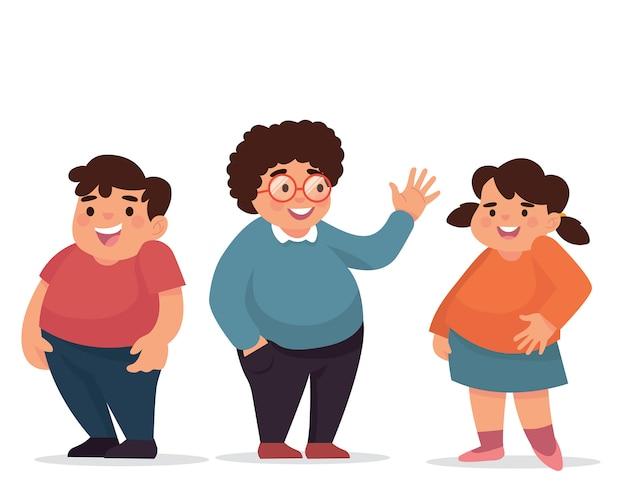 Grupo de niños pequeños gordos