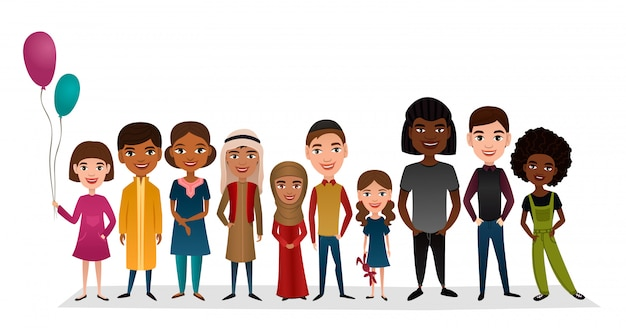 Grupo de niños sonrientes de diferentes nacionalidades