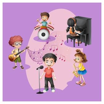 Grupo de niños con su instrumento musical.