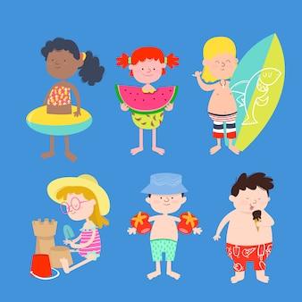 Grupo de niños en traje de baño.