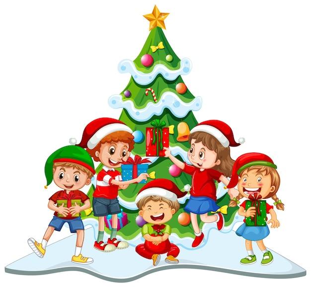 Grupo de niños vestidos con trajes de navidad