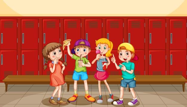 Grupo de niños en vestuario.