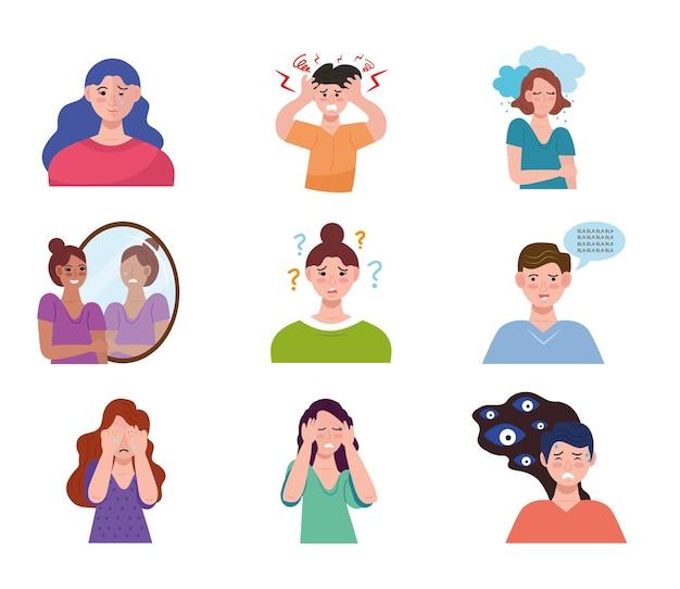 Grupo de nueve personas con caracteres de trastorno bipolar.