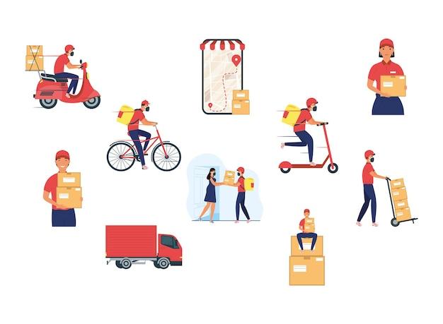 Grupo de ocho trabajadores de entrega del equipo, diseño de ilustraciones de personajes