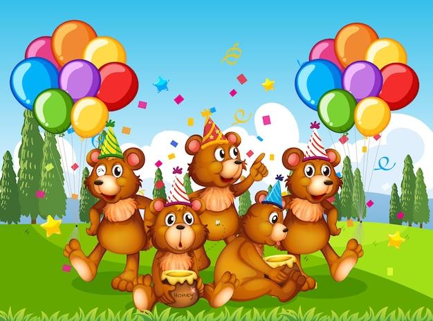 Grupo de osos polares en personaje de dibujos animados de tema de fiesta sobre fondo de bosque