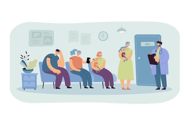 Grupo de pacientes esperando su turno en el consultorio del médico en el pasillo de la clínica. ilustración de dibujos animados