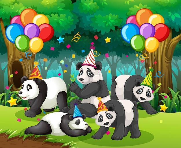 Grupo de pandas en una fiesta en el bosque.