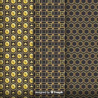 Grupo de patrones geométricos de lujo dorado