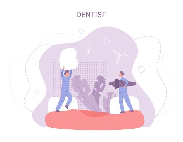 Grupo de pequeños dentistas en uniforme tratan dientes gigantes con equipo médico