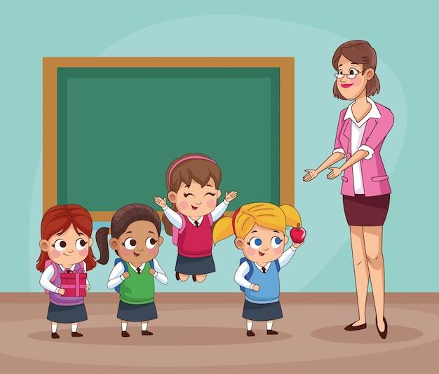 Grupo de pequeños estudiantes niños en el aula ilustración