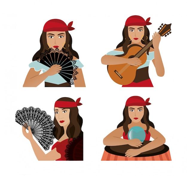Grupo de personaje de avatar femenino gitano