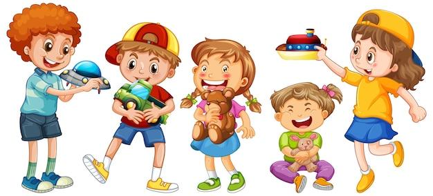 Grupo de personaje de dibujos animados de niños pequeños en blanco