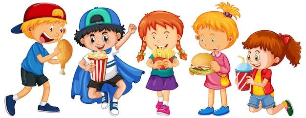 Grupo de personaje de dibujos animados de niños pequeños sobre fondo blanco