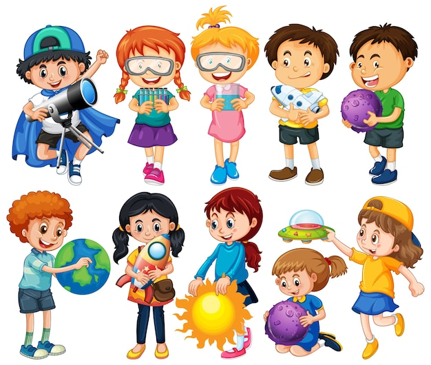 Grupo de personaje de dibujos animados de niños