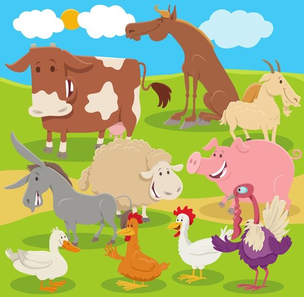Grupo de personajes de animales de granja de dibujos animados en el campo