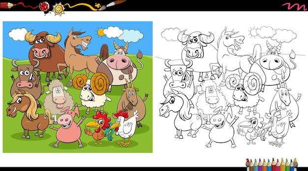 Grupo de personajes de animales de granja de dibujos animados página de libro para colorear