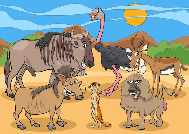 Grupo de personajes de animales salvajes africanos de dibujos animados