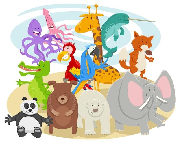 Grupo de personajes de animales salvajes de dibujos animados feliz