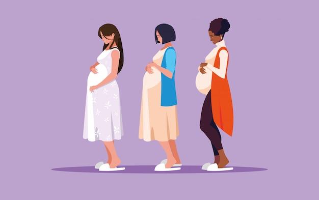Grupo de personajes de avatar de mujeres embarazadas
