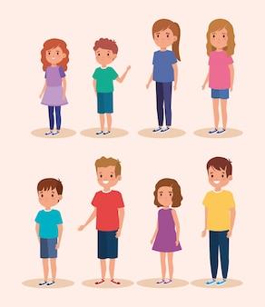 Grupo de personajes de avatar de niños pequeños