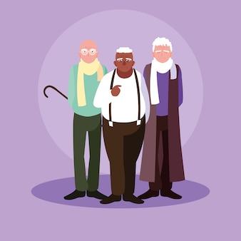Grupo de personajes de avatar de viejos