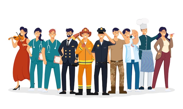 Grupo de personajes de avatares de profesiones de trabajadores.