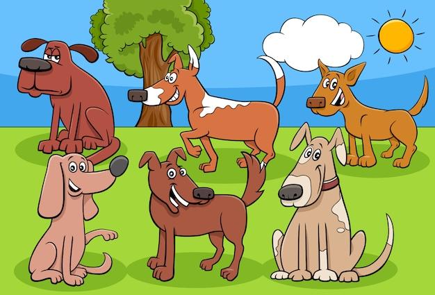 Grupo de personajes de cómic de perros y cachorros de dibujos animados