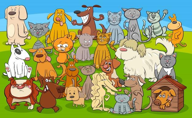Grupo de personajes cómicos de perros y gatos de dibujos animados