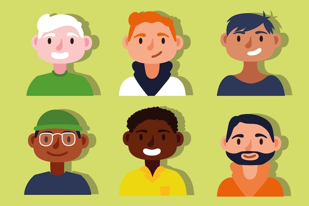 Grupo de personajes de concepto de inclusión de hombres interraciales