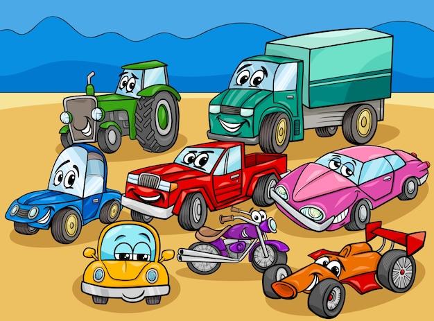 Grupo de personajes de dibujos animados de automóviles y vehículos