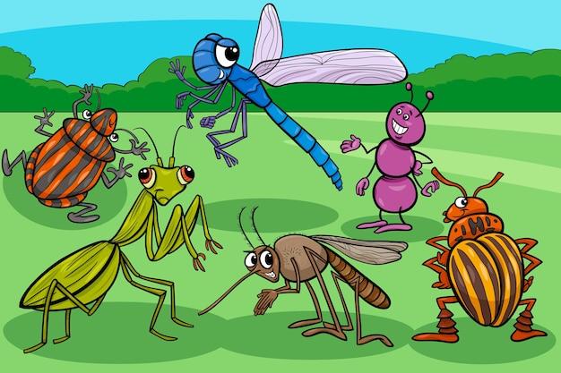 Grupo de personajes de dibujos animados divertidos insectos y bichos