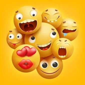 Grupo de personajes de dibujos animados de emoticonos sonrientes amarillos en 3d