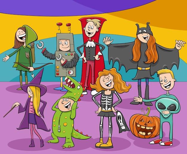 Grupo de personajes de dibujos animados en la fiesta de halloween