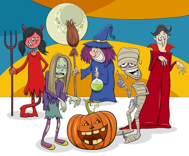 Grupo de personajes divertidos de dibujos animados de vacaciones de halloween