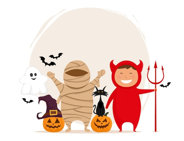 Grupo de personajes divertidos de halloween de niños en disfraces aislado sobre fondo blanco.