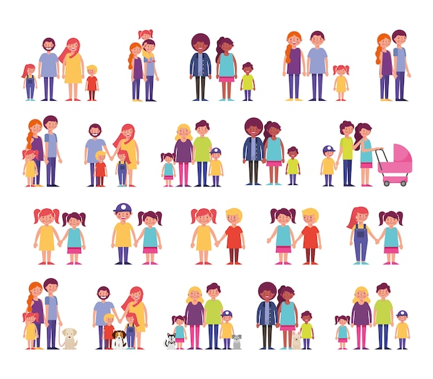 Grupo de personajes familiares