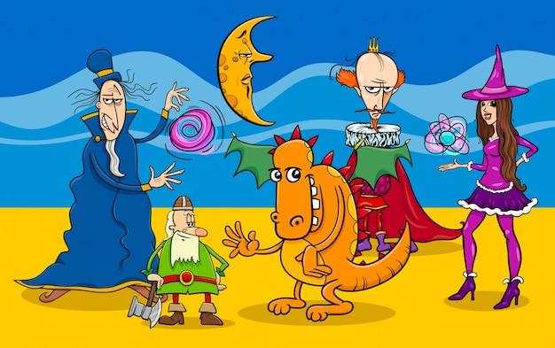 Grupo de personajes de fantasía de dibujos animados
