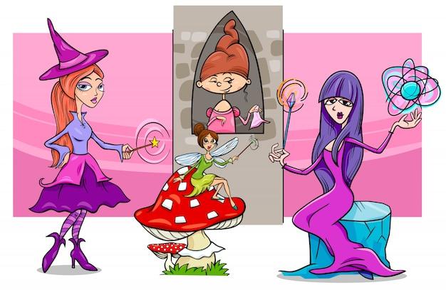 Grupo de personajes de fantasía de mujer de dibujos animados
