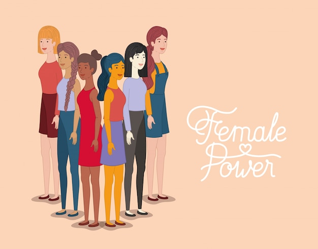 Grupo de personajes femeninos con mensaje feminista.