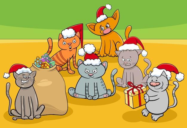 Grupo de personajes de gatitos de dibujos animados en navidad
